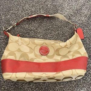 Coach coral stripe shoulder purse